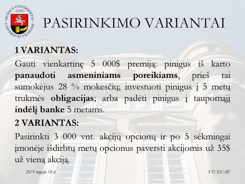 akcijų pasirinkimo viktorina)