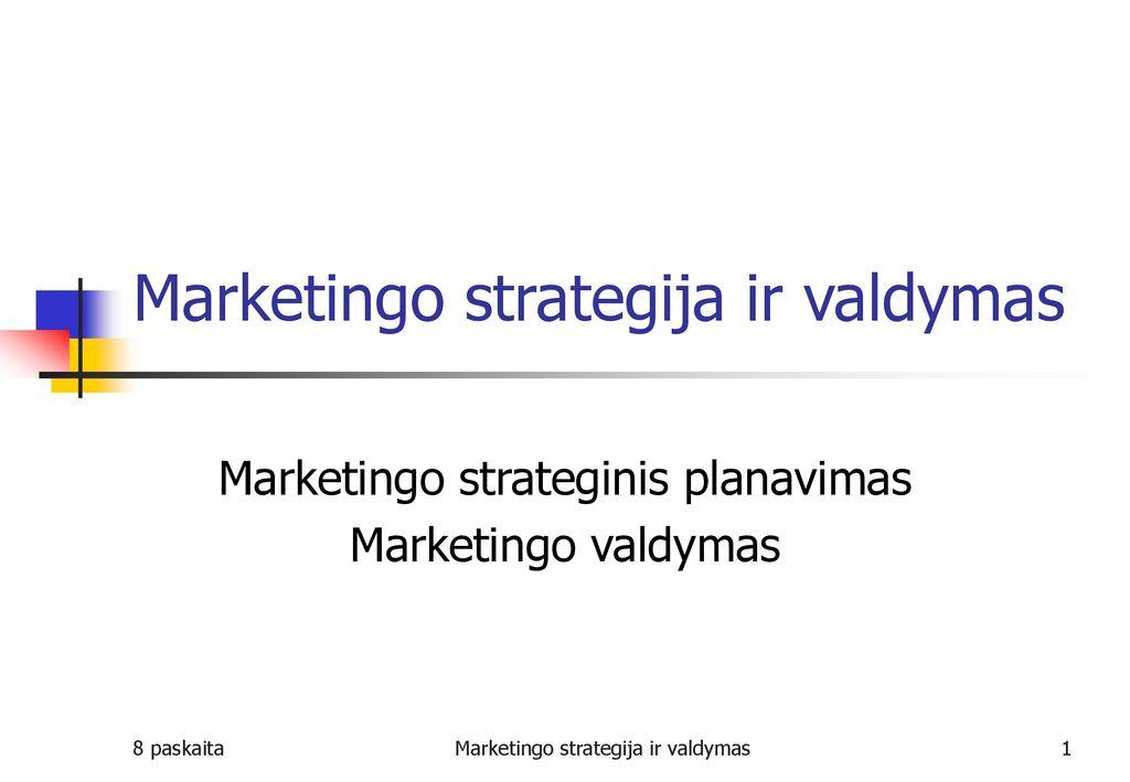 trumpai aptarti pagrindines įmonės strategijos galimybes